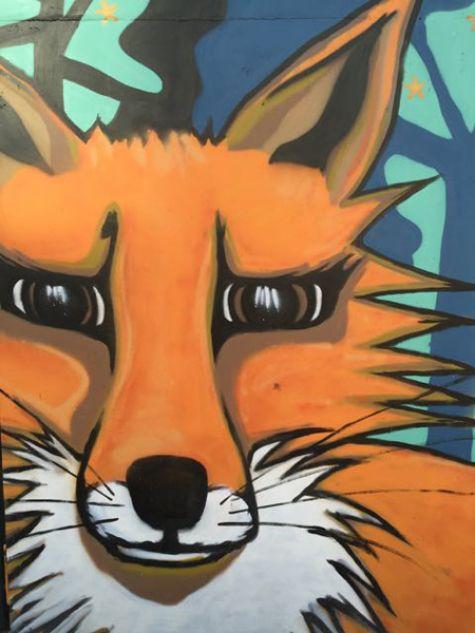 Fox mural closeup