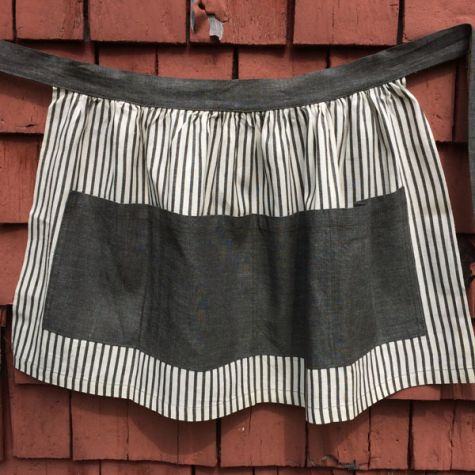 Gray-and-white striped apron